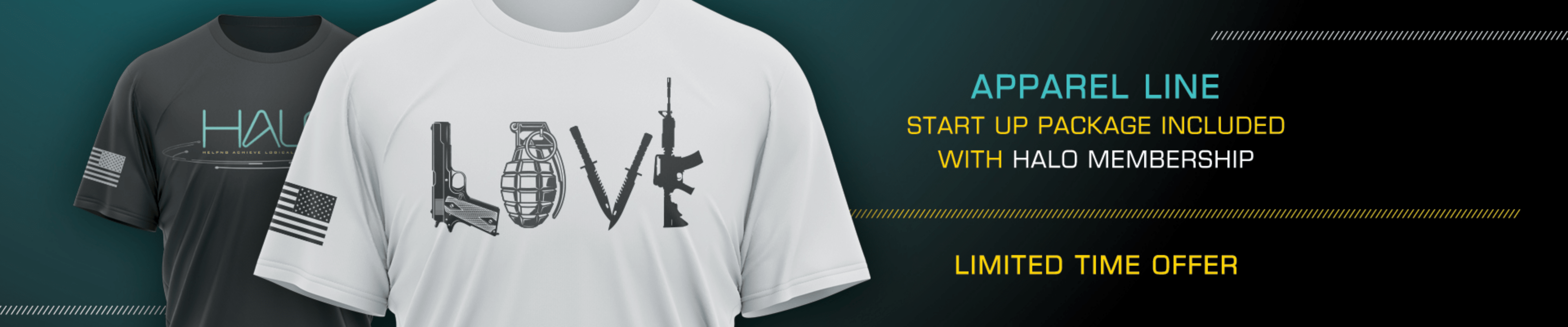 apparel line start up package included with halo membership