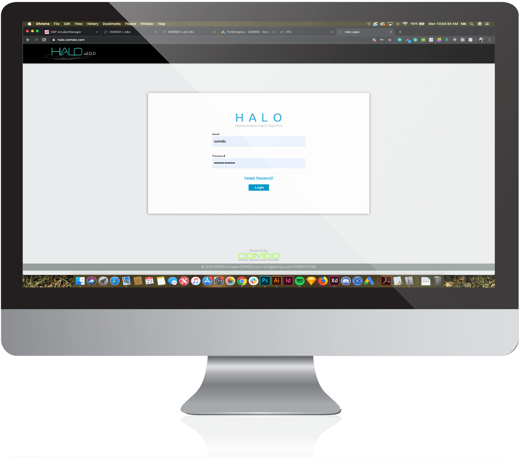 computer with halo login page